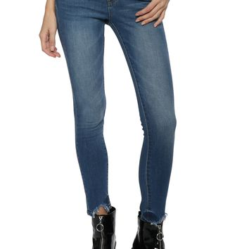 VERVET Cut Out Hem Skinny Jeans