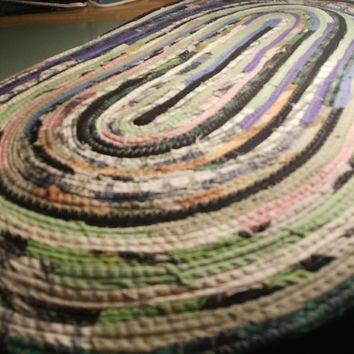 Multicolor Oval Floor Mat, Door Mat, Floor Throw Rug, Made to Order, Choose Your Colors