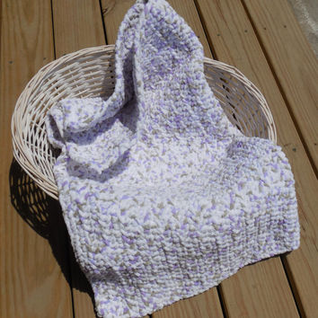 Crochet Baby Blanket, Lavender Cream and Gray Photo Prop, Baby Girl Soft Afghan, Crib Sized Afghan, Handmade Crochet Afghan