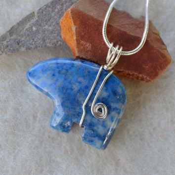 Spirit bear necklace, Navajo bear, sodalite necklace, Native American, bear necklace, wire wrapped, southwestern jewelry, fetish necklace