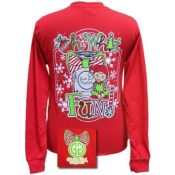 Girlie Girl Originals Christmas Oh What Fun Elf Mason Jar Bow Long Sleeves T Shirt