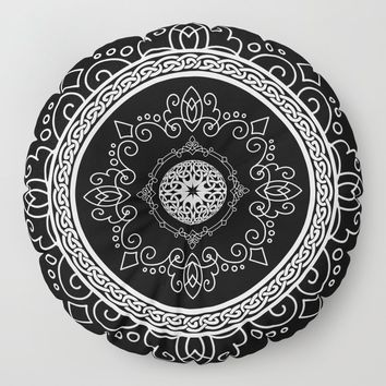 Celtic Soul Mandala Floor Pillow by inspiredimages