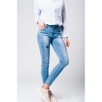Good Jeans Light Wash Embroidered Jeans