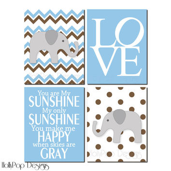 Nursery Wall Decor Chevron Wall Art Baby Boy Art Kids Wall Decor You are My Sunshine Kids art Prints for Kids Elephant Nursery Decor