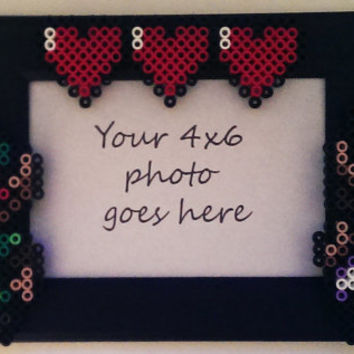 4x6 Picture Frame with Perler Made Zelda, Link, & Life Hearts