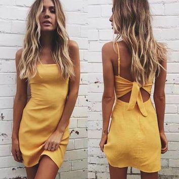 Backless 2019 beach summer casual dress women sundress Bow casual linen sexy dress Slim fit bodycon white short dress party dress white black pink
