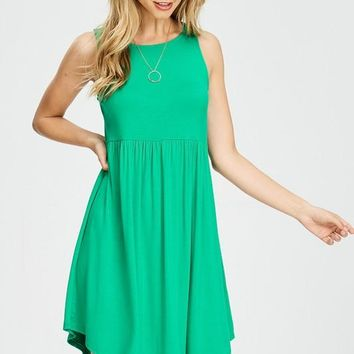Simple Tank Style Dress - Emerald