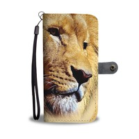 Aggressive Lion Print Wallet Case- Free Shipping