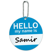 Samir Hello My Name Is Round ID Card Luggage Tag