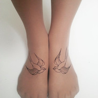 Rockabilly Tattoo Tights, Swallow Foot Tattoo