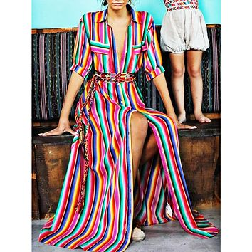 Bohemian dresses and skirts with colour stripes printed in autumn and winter Only one piece #9