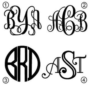 Monogram Initials YOU CHOOSE FONT Diecut Decal Car Wndw,Laptop,More FREE SH