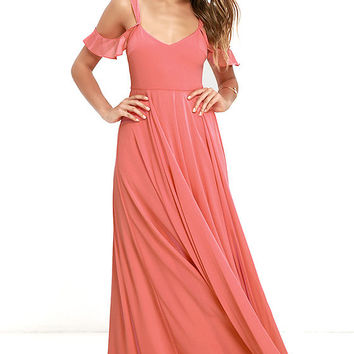 Romantic Fantasy Coral Pink Maxi Dress