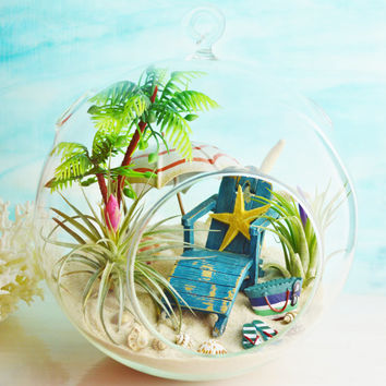 "Beach Terrarium ~ Beach Umbrella and Blue Beach Chair ~ 2 Air plants ~ 7"" Glass Round Globe ~ Palm Tree ~ Beach Decor ~ Great Gift Idea"