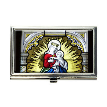 Stained Glass Virgin Mary and Jesus Madonna Business Card Holder