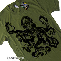 Mens Octopus in Vintage Deep Sea Diver Helmet T-Shirt tee - American Apparel Tshirt - S M L XL and XXL (15 Color Options)