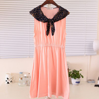 Spring Floral Collar Ribbon Cute Sleeveless Dress Multiple Colors