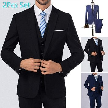 US Size The High Quality Spring 2018 Business and Leisure Suit Man Wedding Sets 8 Colors Two-piece Tops+Pants