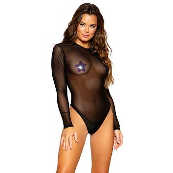 Sexy Top Buzz Long Sleeved Sheer Romper