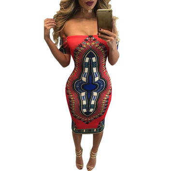 African Print Dashiki Sexy Short Sleeve  Dress
