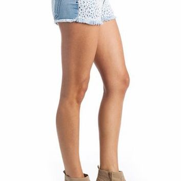 lace front denim shorts $25.30  | GoJane.com