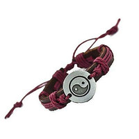 Basket Hill, Yin Yang Bracelet in Brown / Burgandy Leather and Twine