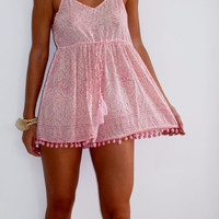 Pink Pom Pom Jumpsuit / Playsuit, Short Beach Dress, Pale Pink and White Print Skort Shorts with Pink Pom Pom's