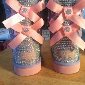 Youth Heathered Lilac and Pink Bailey Bow Ugg Boots, Custom Bling!!!