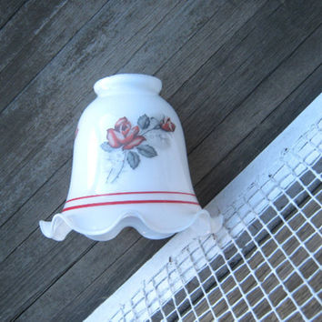 Vintage Milk Glass Ceiling Lamp Shade with Roses - White Glass Shades for Ceiling Light; Roses & Red Stripes - Small Antique Glass Shade