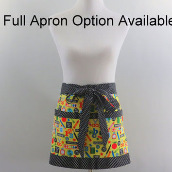Womens School Theme Half or Full Apron, Yellow & Black, Personalized Option, Gardening, Short Kitchen, Craft Fair, Gift for Teacher
