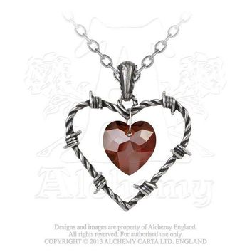 Love Imprisoned Anguished Barbed Wire Red Hearts Necklace
