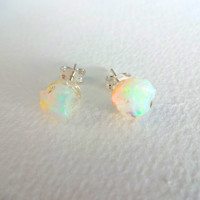 Rough Opal and Sterling Silver Post Earrings