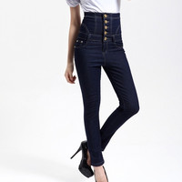 2015 New Arrival winter pants high waist denim jeans pencil jeans high waist pants wide jeans woman big size trousers KD901# = 1930218180