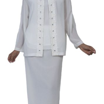 Hosanna 3981 - Modest Plus Size Lace Tea Length Off White Dress 3 Piece Jacket