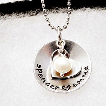 Personalized Necklace - Hand Stamped - Silver - Heart - Pearl - Children's Names