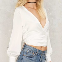 Tied Trying Wrap Blouse - White