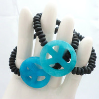 Blue Peace bracelet with black wood set of two by StarBurstJewels