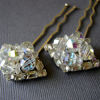 Vintage Crystal and Rhinestone Jewelry Hairpins Set of 2 Jeweled Wedding Hairpiece Costume Accessory