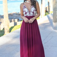 Wine Maxi Dress with Open Back and Embroidered Top