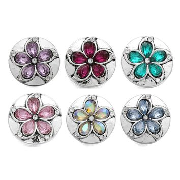 10pcs/lot Flower Snap Button Jewelry Mixed Colors Ginger Metal 18mm Snap Buttons fit Snap Bracelet Bangles