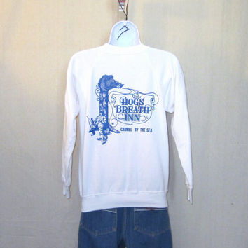 Vintage 80s CARMEL CALIFORNIA GRAPHIC Hog's Breath Soft White Hanes Cotton Acrylic Small Crewneck Sweatshirt