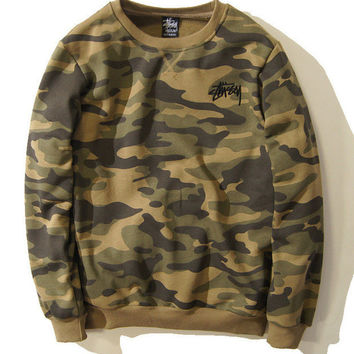 Stussy Winter Unisex Camouflage Round-neck Long Sleeve Sports Sweatshirt
