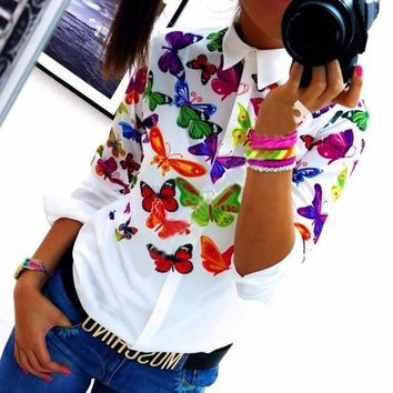 White Floral Butterfly Print Single Breasted Turndown Collar Blouse