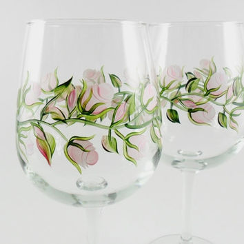 Hand Painted Wine Glasses Pink Roses Set of 2
