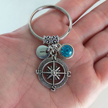 Compass keychain, compass key chain, compass keyring, compass key ring, best friend gift, sister gift, long distance gift, nautical gift