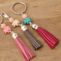Key Chain Tassel, Lucky Elephant Purse Charm, Bag Charm, Zen Key Chain, Zen Jewelry,  Rose Quartz Key Chain,