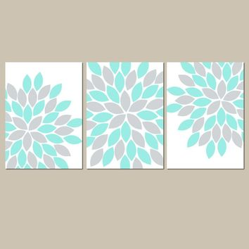 Flower Wall Art, Aqua Gray Bedroom Pictures, Floral Bedroom Art, Aqua Gray Bathroom Decor, Flower CANVAS or Prints Set of 3 Artwork Pictures