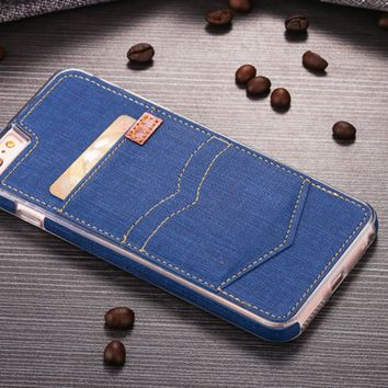 PU jeans pocket card bag Phone Case Cover for Apple iPhone 7 7 Plus 5S 5 SE 6 6S 6 Plus 6S Plus + Nice gift box! LJ160930-005