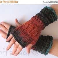 REGULAR PRICE Fingerless Gloves Brown Orange Blue Azure Black Beige Green Mittens Wrist Warmers