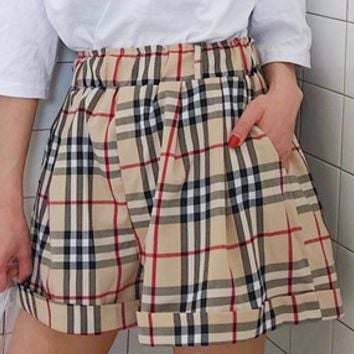 Fashionable and fashionable plaid loose show thin casual pants knickers